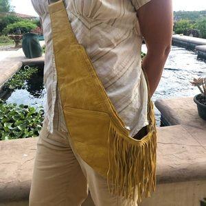 BNWOT Sash Bag Purse in Yellow Classic Leather